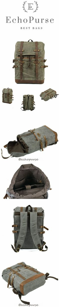 Retro Canvas Travel Backpack, Army Green Computer Rucksack, Mountaineering Shoulder Bag B159