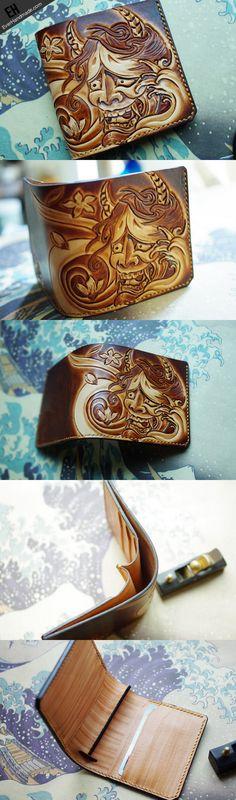 Handcraft vintage hand carved prajna ghost leather short wallet for me | EverHandmade