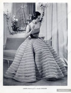 Jacques Griffe 1951 Lace Evening Gown, Dognin