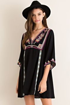 Black Dress 3/4 Sleeve with Embroidery - Longhorn Fashions