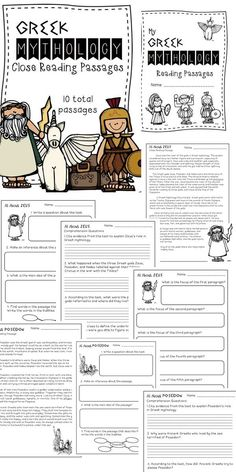 Greek Mythology God & Goddesses Close Reading Passages -10 total! {Includes a reading passage & three worksheets for each god or goddess}