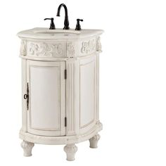 Home Decorators Collection Chelsea 22 in. Vanity in Antique White with Marble…