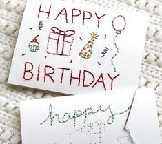 one sheepish girl: Embroidered Birthday Cards and Yarn Bombing Plans