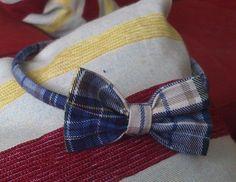 Diadema con lazo de tela escocesa