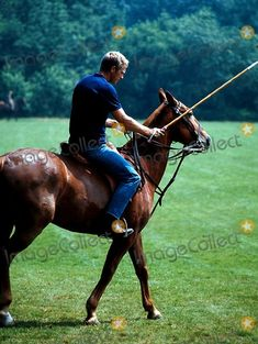 Steve McQueen rehearsing in Hamilton for polo match scene in the 1968 movie, The Thomas Crown Affair