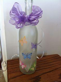 Decorative Butterfly Wine Bottle #Handmade