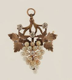 Antique 14k Yellow Gold 30ct Diamond Pearl Grape Bunch Leaf Pin Pendant | eBay
