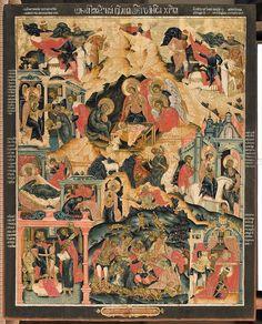 "IC.XC __"" Η Γεννηση""     _ dec 25         ( The Nativity of Jesus Christ, ca. 1786. Tempera on wooden panel. 112 x 90 cm. Yaroslavl Art Museum, Yaroslavl, Russia."