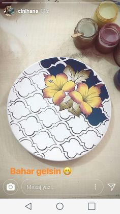 Hand painted roses on china