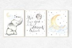 We love you to the moon and back elephant nursery art blue yellow nursery neutral nursery prints cloud nursery star nursery decor Baby Room Wall Art, Baby Wall Decor, Nursery Decor Boy, Star Nursery, Nursery Themes, Nursery Art, Nursery Ideas, Dumbo Nursery, Nursery Layout
