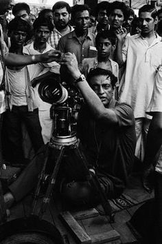 "Bengali filmaker Satyajit Ray filming scenes of his movie ""Sonar Kella"" (""The Golden Fortress"") in Calcutta."