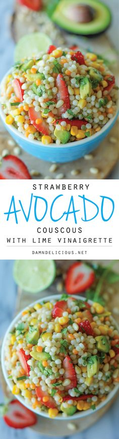 Strawberry Avocado Couscous Salad with Lime Vinaigrette - With a refreshing vinaigrette and fresh produce, this makes for a perfect salad! Couscous Salad Recipes, Couscous Healthy, Couscous Perlé, Pasta Salad, Soup And Salad, Prociutto Appetizers, Avacado Appetizers, Mexican Appetizers, Halloween Appetizers