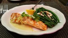 Pappadeaux Seafood Kitchen Ginger Salmon: Grilled salmon fillet topped with ginger butter & served with almond green beans.