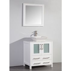 Vanity Art White Artificial Stone Top 30-inch Vessel Sink White Bathroom Vanity and Matching Framed Mirror