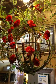 "brown metal orb / sphere / ball with red poppy / poppies ""chandelier"""