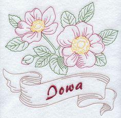 Iowa - Prairie Rose (Redwork)
