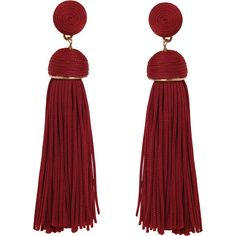 Humble Chic NY Silky Soiree Tassels (€29) ❤ liked on Polyvore featuring jewelry, earrings, burgundy, tassel earrings, stud earrings, earring jewelry, burgundy jewelry and dangle earrings