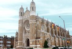 Our Lady, Queen of the Most Holy Rosary Cathedral, 2535 Collingwood Blvd. Cornerstone laid in first public service in renovations in Spanish Platteresque styling, building length of over 240 feet. Holy Rosary Cathedral, Toledo Cathedral, Cathedral Church, Barcelona Cathedral, Old Churches, Catholic Churches, Catholic Mass, Roman Catholic, Places To Travel