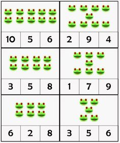 My just-turned-five-year-old son's number sense is really improving, but to help further his association of numbers and numerals, I used t. Frog Crafts Preschool, Frog Activities, Numbers Preschool, Counting Activities, Preschool Themes, Preschool Printables, Kindergarten Math, Preschool Activities, Free Printables