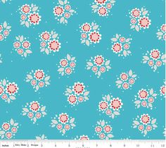 Twice as Nice by The Quilted Fish -  Riley Blake Designs - Blue Petals - 1 Yard Cut - Cotton Fabric