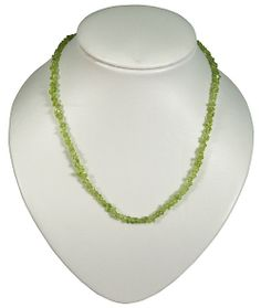 This is a beautiful necklace made of Olivine. It measures at 46 cm