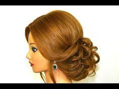 Easy romantic hairstyle for long medium hair. Updo tutorial - YouTube