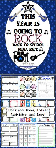 Rock Themed Back to School Mega Pack - Get ready to rock this year! This pack will help you with all aspects of starting your school year with printable room decor, open house activities, first week activities, and much more! This pack now includes a download link to EDITABLE letters, labels, and more from the pack! $