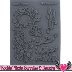 Christi Friesen Image Texture Stamp - Art Nouveau Create beautiful handcrafted pieces of jewelry for yourself or as gifts with Texture Stamps. Great for use with polymer clay, metal clay, paper, fabric and more! Each rubber sheet features deeply etched designs for highly detailed results. This package contains one 5-1/2x4-1/4 inch texture stamp. These stamps are perfect for using with polymer clay applications like: Textile Effect, Mica Shift, Sutton Slice, Patterned Faux Dichroic...