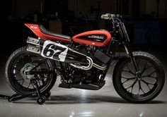 Built for racing on dirt ovals, the Harley-Davidson Flat Track Motorcycle is the company& first all-new flat track race bike in 44 years. It& powered by a fuel-injected, liquid-cooled Harley-Davidson Revolution X engine, modified for the track by. Flat Track Motorcycle, Flat Track Racing, Motorcycle News, Motorcycle Garage, Racing Bike, Auto Racing, Tracker Motorcycle, Bike News, Women Motorcycle