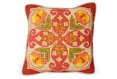"1970s Orange Needlepoint Pillow 14"" Sq. ($595.00)  $215.00 OneKingsLane.com"