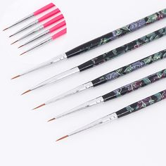 Flowers brushes set1 by mohaafterdarkiantart brush price tracker and history of acrylic uv gel pen ultra thin liner brush drawing pen pinkblack flower handle manicure nail art brush tool set prinsesfo Image collections