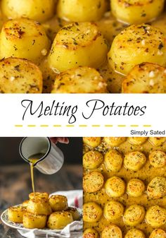 Melting Potatoes have crispy outsides, creamy soft insides and are surrounded by an herby, buttery, savory sauce. They are easy […] Canned Potatoes, Oven Roasted Potatoes, How To Cook Potatoes, Potatoes In Oven, Carrots Oven, Butter Potatoes, Yukon Gold Potatoes, Sliced Potatoes, Gold Potato Recipes