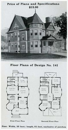 1909 Home plans.  Love the circular rooms!
