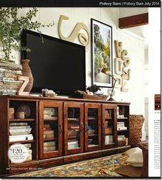 Shop printer's long low media suite from Pottery Barn. Our furniture, home decor and accessories collections feature printer's long low media suite in quality materials and classic styles. Home Living Room, Living Room Decor, Barn Living, Decor Room, Bedroom Decor, Style Loft, Muebles Living, Tv Wall Decor, Great Rooms