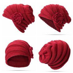 Sombrero hecho punto de las flores de lana étnica de las mujeres Sombrero  de la gorrita tejida del invierno de la buena tía de la vendimia caliente b66636a2a22
