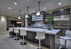 Snug Harbor - contemporary - kitchen - orange county - Brandon Architects, Inc. Kitchen Wet Bar, Breakfast Bar Kitchen, Kitchen Ideas, Kitchen Designs, Kitchen Island, Contemporary Kitchen Design, Modern Bathroom Design, Snug Harbor, Kb Homes