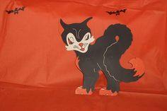 Unused! Vintage Beistle Die Cut Black Cat Stand Up Halloween Decoration 3-D