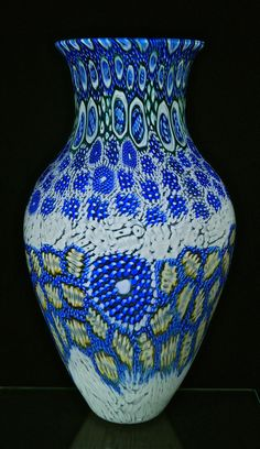 "2016 Michael Egan blown glass murrini vessel, 16""X10. A large and bright, intricate murrini pattern decorates this classic vase form, one of a kind, found at Artfulhome.com"