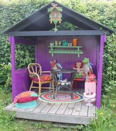 Girls love to play in a doll house as their childhood surrounds these kinds of memories. Make a doll house of 6 by 4 feet and paint it with purple for girlish touch. Put some kids table chairs and shelves with stuff toys to make the look complete.