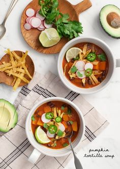 tortilla soup - a base of blended roasted tomatoes, onions, garlic, tortillas, and chile is filled with hearty black beans and roasted squash. Vegan and gluten free! Canned Pumpkin Recipes, Soup Recipes, Vegetarian Recipes, Healthy Recipes, Healthy Lunches, Vegan Soups, Fall Recipes, Dinner Recipes, Vegetarian Pho