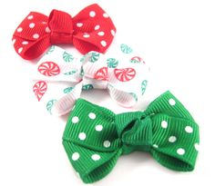 Baby Christmas Hair Bows - Set of 3 - Red Swiss Dots, Emerald Swiss Dots and Peppermint Print on Etsy, $3.99