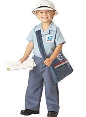 Haha omg, USPS Worker Halloween Costume. Although neither of them deliver the mail, both Liam's Grammy Sybil and Papa Tony work for the USPS as well as his Great Auntie Lauren (who works with Sybil) and his Great Papa Canada (RIP) who worked for the USPS as well! =)