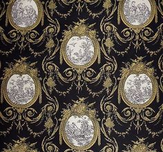 By-The-Yard-HTF-Waverly-Vignette-Toile-Black-Gold-Material-Fabric-54-W-New