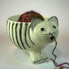 cat planter or yarn bowl by ceramiquecote on Etsy