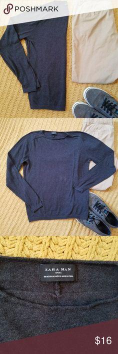 ZARA MAN basic sweater Soft, comfy, and stylish. Gray Zara Man basic knit pullover sweater. Size Medium.  Perfect condition Zara Sweaters