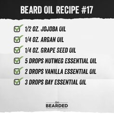 Looking for a good beard oil? We'll show you how to craft the perfect beard oil recipe from home, and show you step by step what you need to do! Diy Beard Oil, Beard Oil And Balm, Best Beard Oil, Beard Balm, Vanilla Essential Oil, Essential Oils, Nutmeg Oil, Beard Model