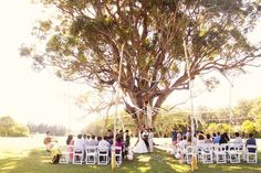 Less is more at this romantic outdoor ceremony. [Sunset Ranch]