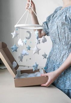 Moon Clouds and Stars Baby Mobile Silver Nursery Mobile Light Blue Nursery Decor. - Moon Clouds and Stars Baby Mobile Silver Nursery Mobile Light Blue Nursery Decor Baby Boy Room Decor - Light Blue Nursery, Moon Nursery, Star Nursery, Nursery Room, Nursery Decor, Baby Blue Nursery, Blue Nursery Ideas, Star Themed Nursery, Nursery Crafts