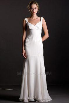 Plissé Robe de Mariée Déesse Larges Bretelles Mancheron Eté Milieu Robe de fête