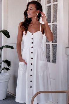 Beautiful casual dresses - 47 Beautiful Casual Dress Ideas for Women Beautiful Casual Dresses, Cute Dresses, White Dress Casual, White Maxi, White Summer Dresses, Midi Dresses, Simple Summer Dresses, White Sundress, Elegant Dresses